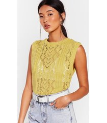 womens knit so fast pointelle knit vest - lime