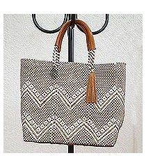 leather accented plastic tote, 'golden zigzags' (mexico)