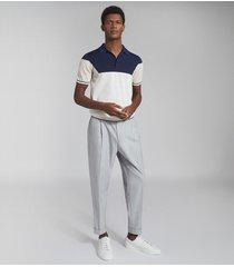 reiss gerrard - colour block polo shirt in navy, mens, size xxl