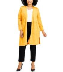 kasper plus size 3/4-sleeve duster jacket