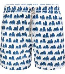 capri code white swimsuit with blue faraglioni pattern