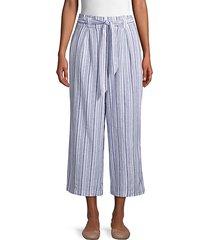 striped linen & cotton blend wide-leg pants