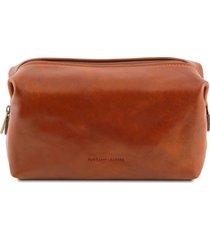 tuscany leather tl141219 smarty - beauty case in pelle - misura grande miele