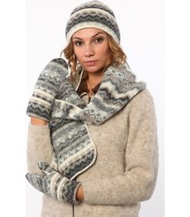 soft warm double - cuff toque scarf and mittens set made from icelandic wool