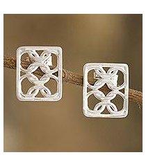 sterling silver drop earrings, 'infinite ties' (peru)
