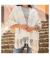 zapotec cotton rebozo shawl, 'azure stars of teotitlan' (mexico)