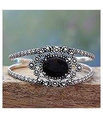 onyx cuff bracelet, 'black jaipuri gem' (india)