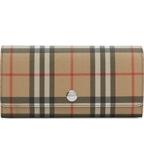 burberry vintage check e-canvas continental wallet - brown
