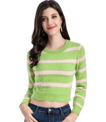 sweater crop rayas bicolor verde nicopoly