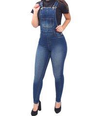 macacão jardineira jeans frozini skinny delavê