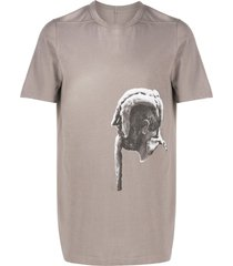 rick owens sculpted head print t-shirt - grey