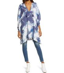 women's treasure & bond stripe twill long poncho, size one size - blue