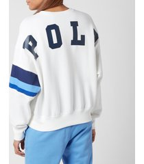 polo ralph lauren women's small polo logo relaxed fit sweatshirt - white - m