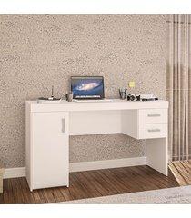 mesa para computador miranda porta 2 gavetas branco - politorno
