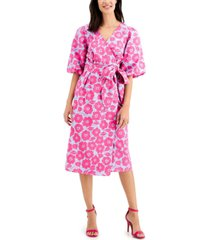 charter club petite floral-print wrap dress, created for macy's