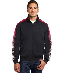 sport-tek jst93 mens dot sublimation tricot track jacket - black/true red