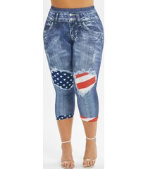 american flag 3d printed skinny capri plus size jeggings