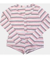 pijama flora zuu manga longa listrado feminino