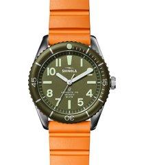 shinola duck rubber strap watch gift set, 42mm in orange/green/stainless steel at nordstrom