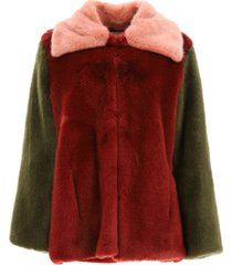 lautre chose multicolor faux fur peacoat