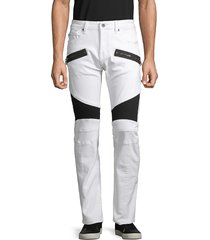cult of individuality men's greaser cotton moto jeans - white - size 30
