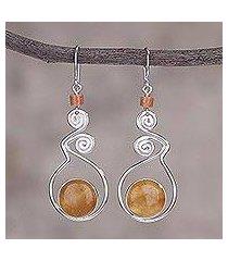 opal dangle earrings, 'pendulum of time' (peru)