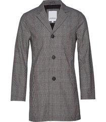 checked bonded mac coat dunne lange jas grijs lindbergh