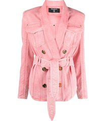 balmain double-breasted belted denim jacket - pink