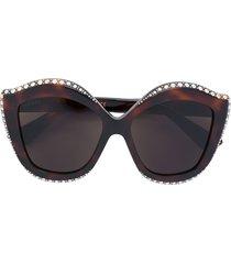 gucci eyewear crystals applique sunglasses - brown