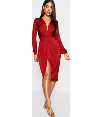 disco slinky twist front wrap dress, wine