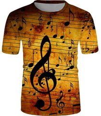 3d musical note printed fashion tee