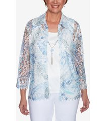 alfred dunner women's missy french bistro butterfly lace two for one top