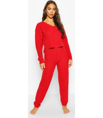 cropped knit sweater and jogger lounge sets, red