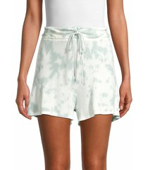 lucca women's tie-dye waffle-knit shorts - mint tie dye - size xs