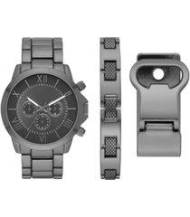 folio men's gunmetal bracelet watch 48mm gift set