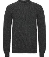 runar knit stickad tröja m. rund krage grå makia