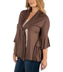 24seven comfort apparel three quarter tie front ruffle plus size cardigan