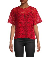 valentino women's floral lace top - rosso - size 42 (6)