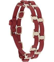 salvatore ferragamo vara double-strap buckle bracelet - red