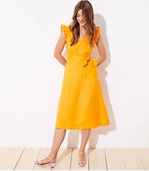 loft cutout button back midi dress