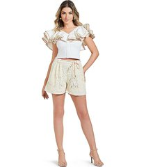 avantlook women's high-rise belted lace shorts - beige - size l