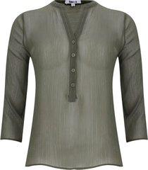 blusa manga 3/4 transparencia color verde, talla 6