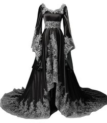 lemai high low vintage a line gothic prom evening dresses beaded sequins cors...