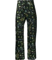 floral dragon print pants black bird