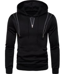 zipper decorated color spliced casual hoodie