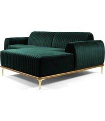 sofá 3 lugares com chaise esquerdo base de madeira euro 245 cm veludo verde gran belo