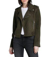 vigoss women's faux-suede moto jacket - olive - size xs