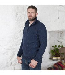 donegal wool irish zipper sweater blue xl