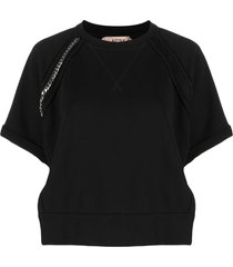 nº21 chain-detail short-sleeve sweatshirt - black