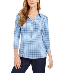 charter club 3/4 sleeve printed polo top, created for macy's